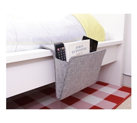 Gray Felt Bedside Caddy Dorm Necessities College Supplies Dorm Room Decor
