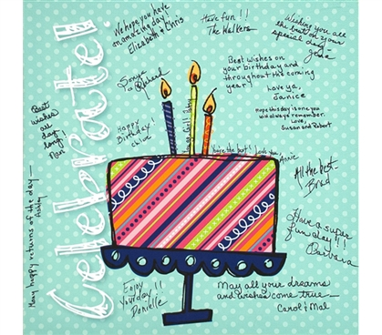 Canvas Kudos - Signable Wall Canvas - Celebrate Cake Design