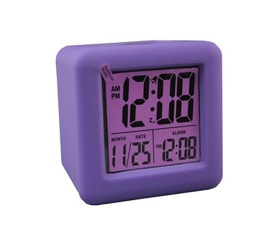 Purple Cubed Lcd Digital Alarm Clock Dorm Room