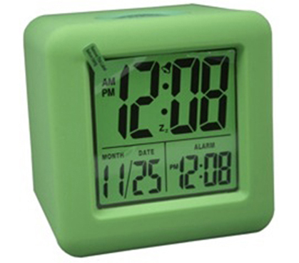 Lime Green Cubed LCD Digital Alarm Clock College dorm room needs