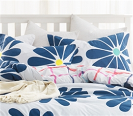 Cobalt Bloom Sham Dorm Essentials Dorm Room Decorations