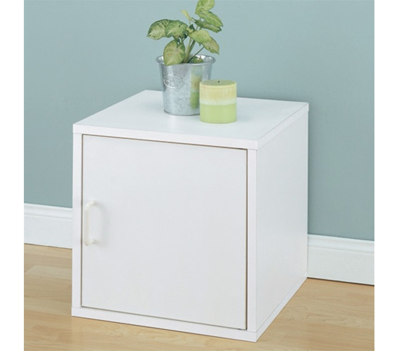 Mini Bedside Table single door storage cube bedside table - dorm room organizing