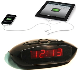 AM/FM LED Clock Radio With Aux-In and USB Dorm Essentials