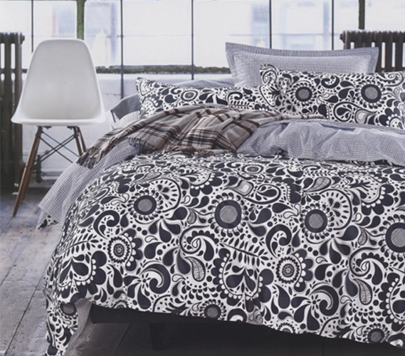 Black And White Flowered Patterned Twin Xl Comforter Set