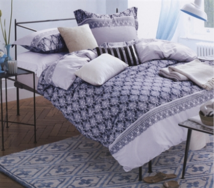 Extra Long Twin College Comforter Purple Patterned