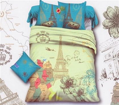 Extra Long Twin Comforter Set Map Eiffel Tower Designer Dorm Bedding College Dorm Essentials