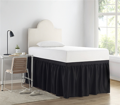 Luxury Plush Dorm Sized Bed Skirt Panel with Ties - Black