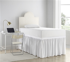 Luxury Plush Dorm Sized Bed Skirt Panel with Ties - White