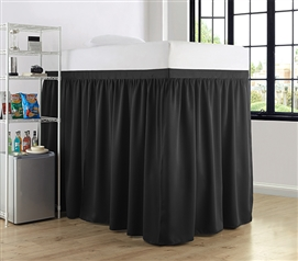 Luxury Plush Extended Dorm Sized Bed Skirt Panel with Ties - Black (For raised or lofted beds)