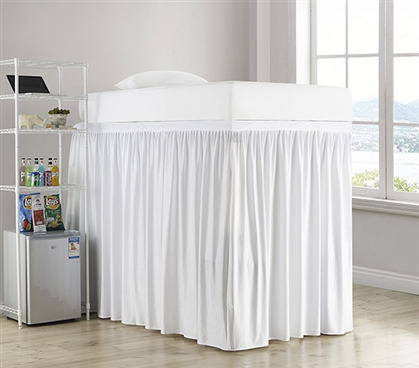 Luxury Plush Extended Dorm Sized Bed Skirt Panel with Ties - White (For raised or lofted beds)