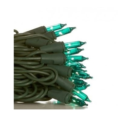 Mini Dorm Lights - Teal - Green Wire