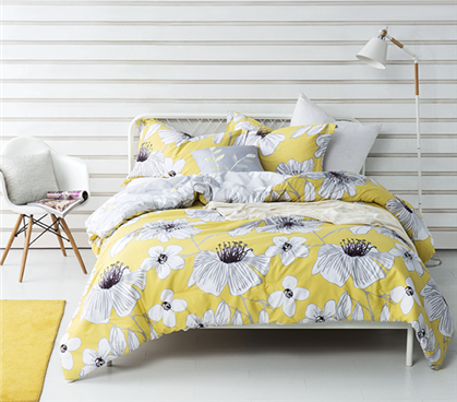 College Comforter Set Yellow Gray Flowers Dorm Extra Long Twin Comforter