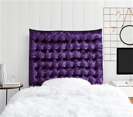 Rainha Cushion Tufted College Headboard - Velvet Crush - Dark Purple Reign