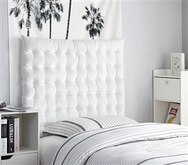 Rainha Cushion Tufted College Headboard - White Velvet