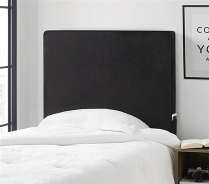 University Transitional Cushioned Dorm Headboard - Black Plush
