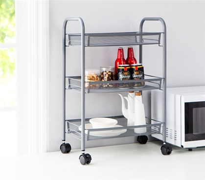 Suprima 3 Tier Mesh Basket Shelving (Wheeled) - Gray
