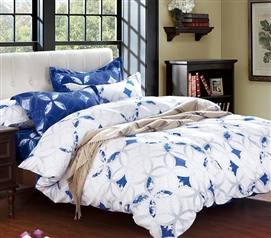 White and Sapphire Dorm Comforter Twin XL Bedding Dorm Room Essentials