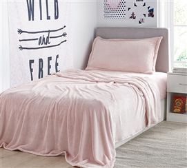 Comfortable Rose Quartz Twin XL Bedding Me Sooo Comfy® Plush Sheets for Extra Long Twin Bed