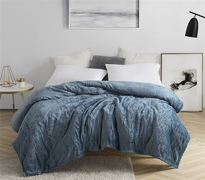 Twin XL Bedding for College - Me Sooo Comfy® Dorm Blanket - Twin XL Smoke Blue