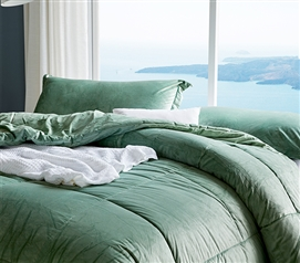 Cuz I'm Cozy - Coma Inducer Twin XL Comforter - Olive Pine Green