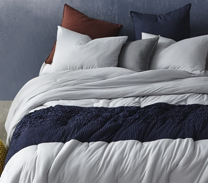 Tundra Gray Knit Handcrafted Twin XL Comforter with Navy Jacquard College Dorm Room Bedding