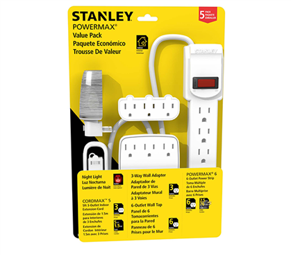 5-Piece Surge Protector Power Pack - White