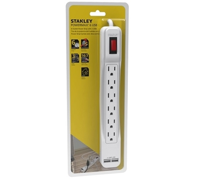 Power Max - 6-Outlet Surge Protector With 2 USB Must Have Dorm Room Gadgets Dorm Essentials