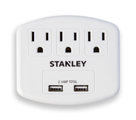 Plug Max 3 Outlet Surge Protector with 2 USB Must Have Dorm Room Gadgets College Supplies