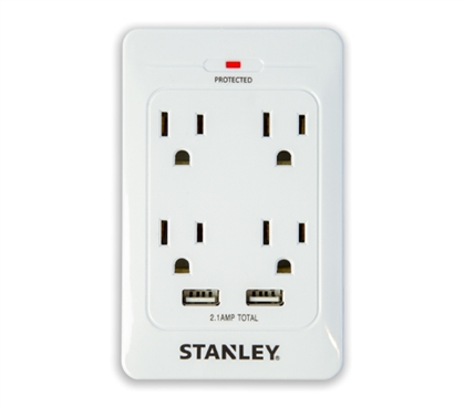 Surge Quad 4 Outlet Surge Protector with 2 USB College Supplies Must Have Dorm Items