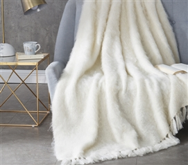 Amazingly Comfortable Hand Brushed Kid Mohair Throw Blanket Nama Karoo Stylish Almond Butter Dorm Blanket
