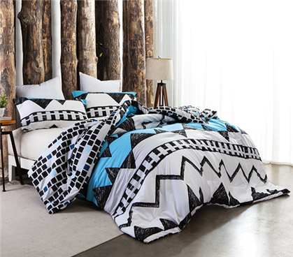 Twin XL Black White and Aqua Comforter Extra Long Twin Dorm Bedding