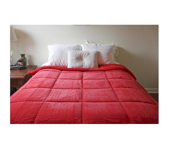 College Plush Comforter   Bright Pomegranate Red   Twin XL