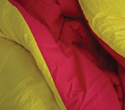 Microfiber Material - Yellow/Cherry Pink Reversible College Comforter - Twin XL - College Comforter