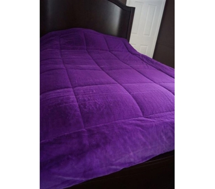 Super Soft Dorm Room Bedding - College Plush Comforter - Stylish Purple Twin XL Bedding