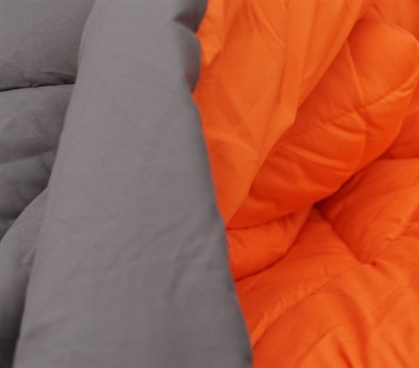Two Colors For Your Bedding - Gray/Orange Reversible College Comforter - Twin XL - Decorate Your Dorm