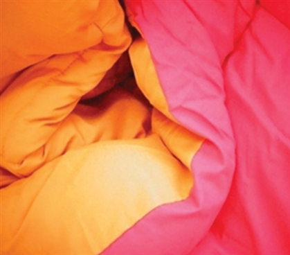 Has Two Vibrant Colors - Pink/Orange Reversible College Comforter - Twin XL - Great Dorm Bedding For College