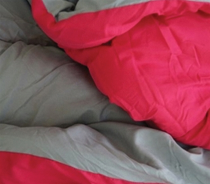 Use Either Color - Gray/Cherry Pink Reversible College Comforter - Twin XL College Bedding Essential