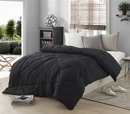 Dorm Bedding Black Comforter - Extra Long Twin Comforter for College Beds
