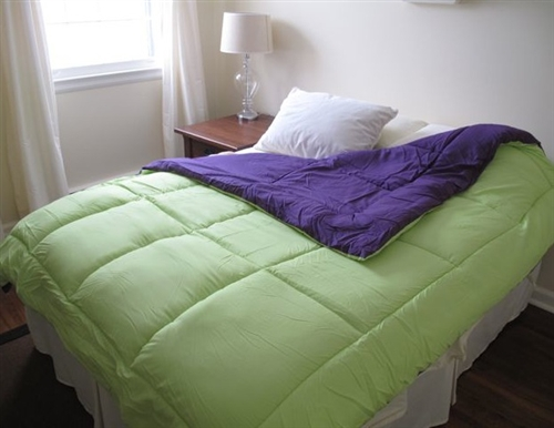 Cheap College Dorm Room Essentials   Lime Green/Purple Reversible