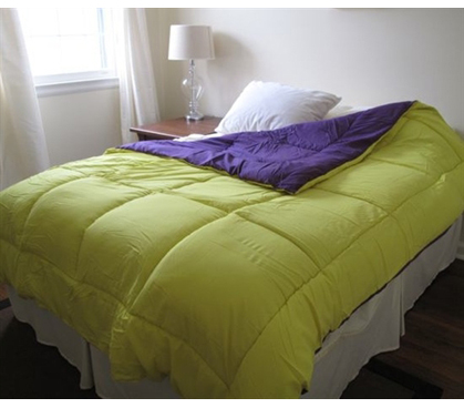 Cheap College Dorm Bedding Purple Yellow Reversible