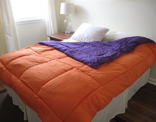 orange/purple reversible college comforter - twin xl college dorm