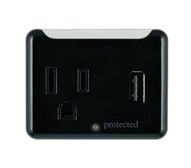 1-Outlet Surge Protector Wall Tap with USB Port