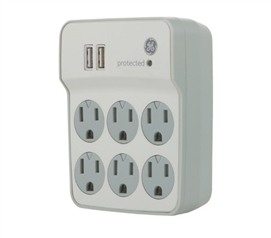 Surge Protector Wall Tap - 6 Outlet with USB