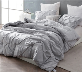 Glacier Gray Pin Tuck Twin XL Comforter