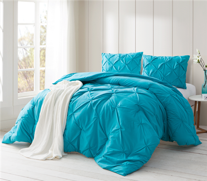 Peacock Blue Pin Tuck Twin XL Comforter
