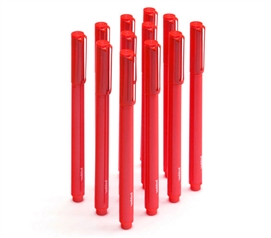 Ballpoint Pens - Set of 12 - Red (Black Ink)