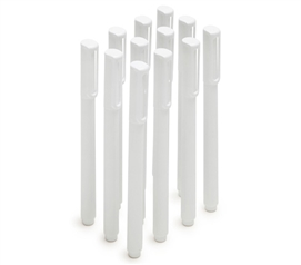 Ballpoint Pens - Set of 12 - White (Black Ink)