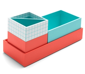 3 PC Paperboard Nesting Desk Set - Coral and Aqua Dorm Essentials Dorm Organization