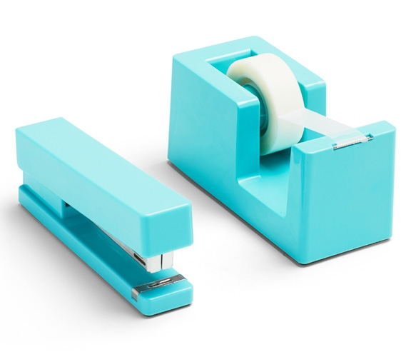 Stapler And Tape Dispenser Combo Aqua