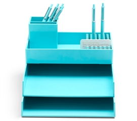 Super Stacked Dorm Desk Bundle - Aqua Dorm Essentials College Supplies